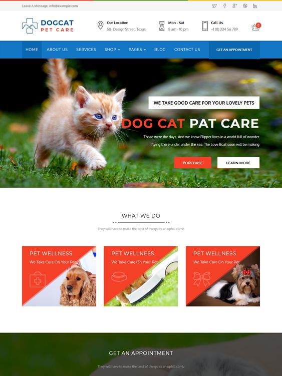 pet care pets vets wordpress theme