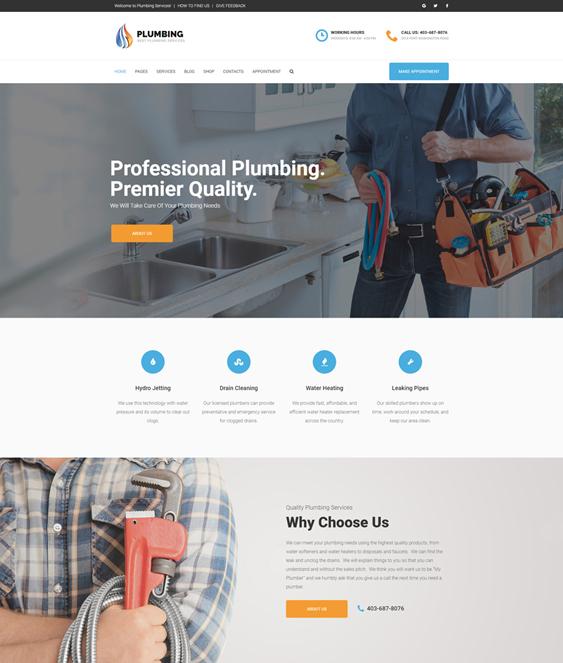 plumbing companies plumbers wordpress themes