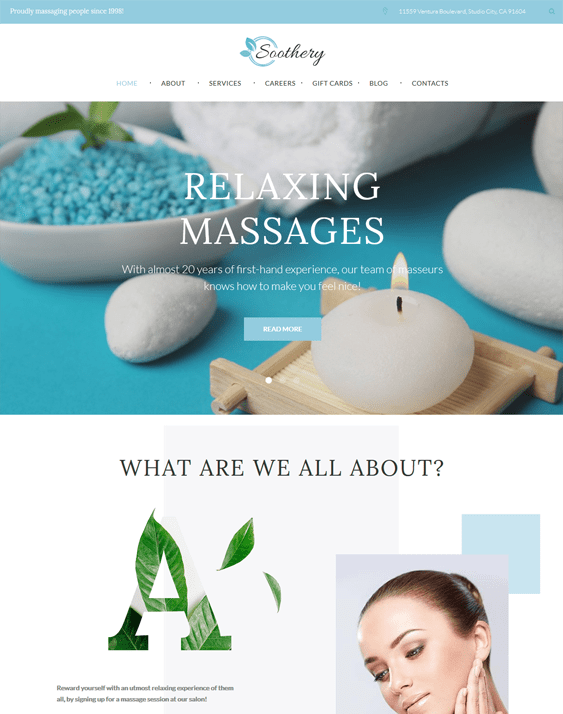 soothery wordpress themes massage therapist masseur