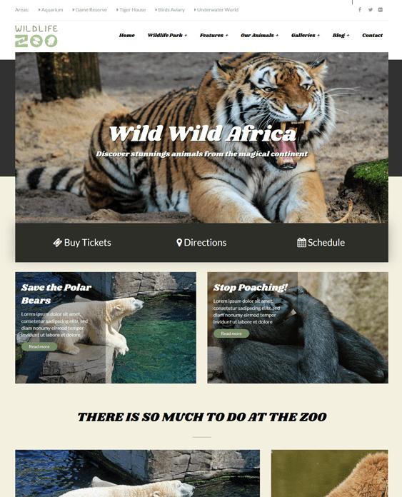 wildlife park charity wordpress themes