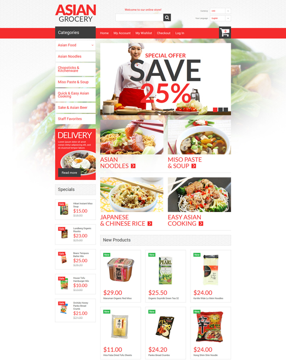 Asian Specialties food store magento themes
