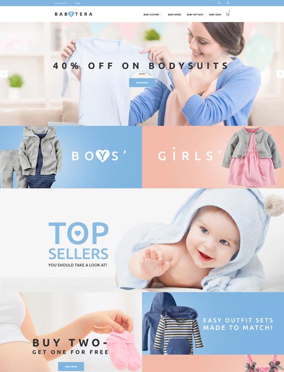 Babytera - Store baby kids children Magento Themes