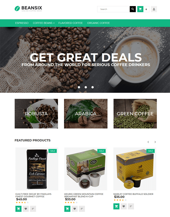 beansix coffee shop magento themes