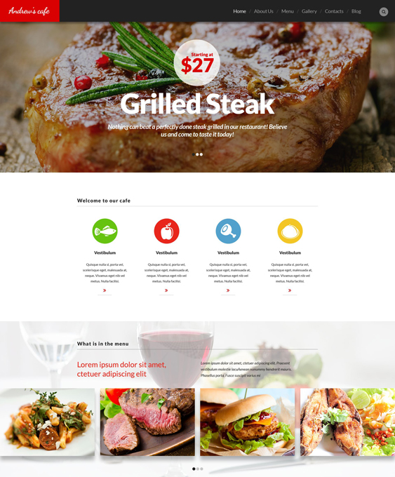 Cafe and Restaurant steakhouse WordPress Theme