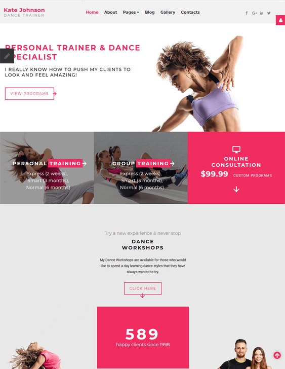 kate johnson joomla template dance studio teacher width=