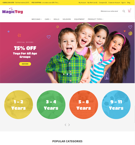 magictoy baby kids children Magento Themes