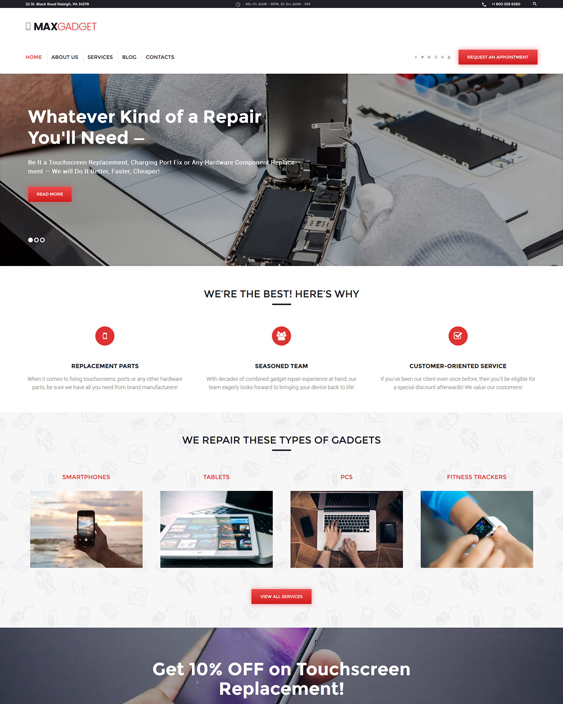 MaxGadget - Computer Maintenance & Electronics Repair WordPress Theme