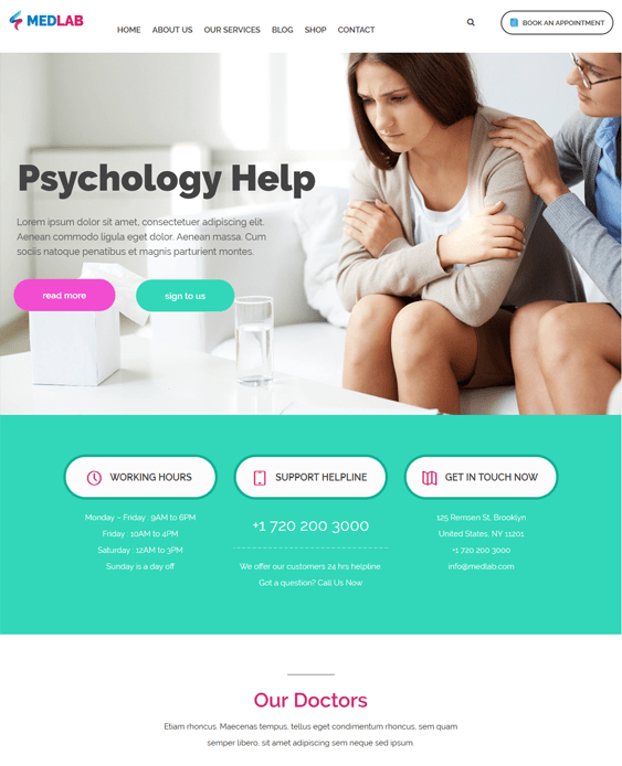 medlab counselors psychologists therapists wordpress themes