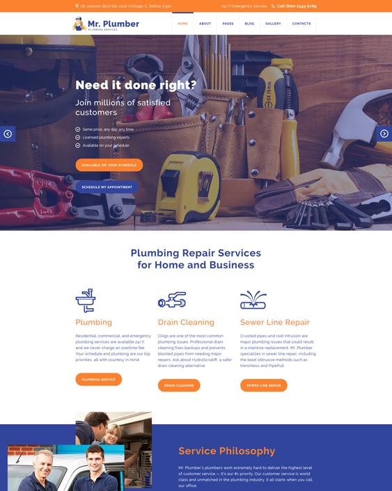 Mr. joomla template plumbing companies plumbers