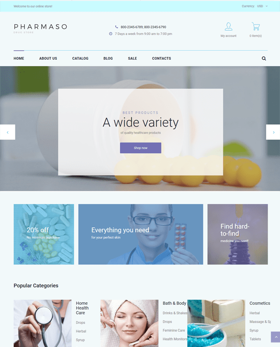 pharmaso drug store pharmacy shopify themes