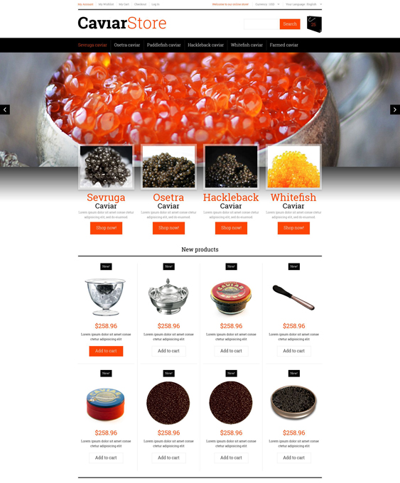 Sell Buy Caviar food store magento themes