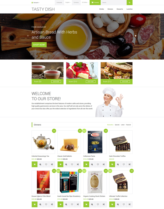 Tasty Dish food drink restaurant opencart themes Template