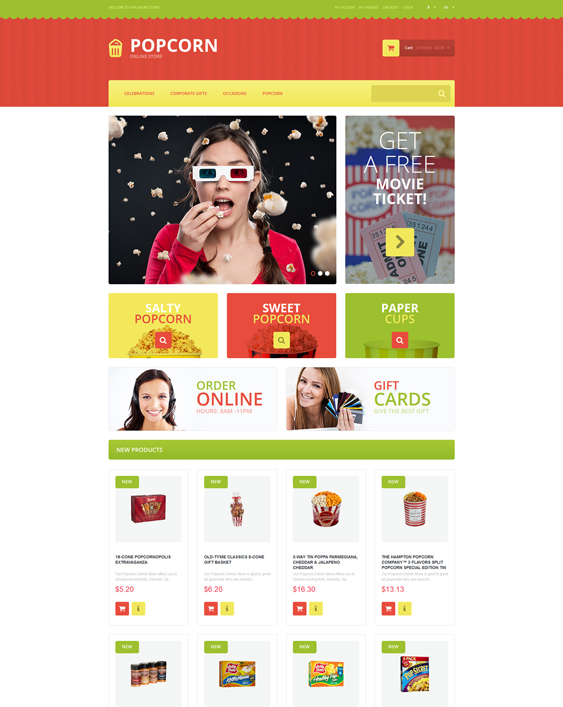 Tasty Popcorn food store magento themes