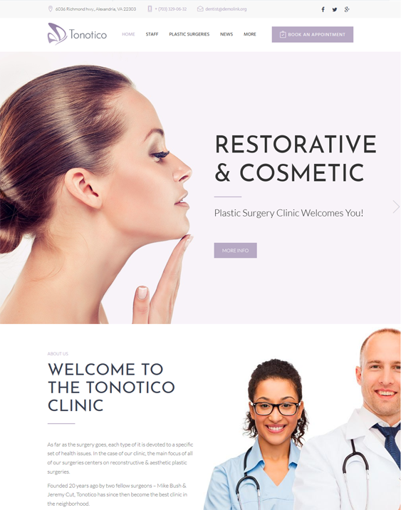 tonotico wordpress themes plastic surgeons cosmetic surgery centers