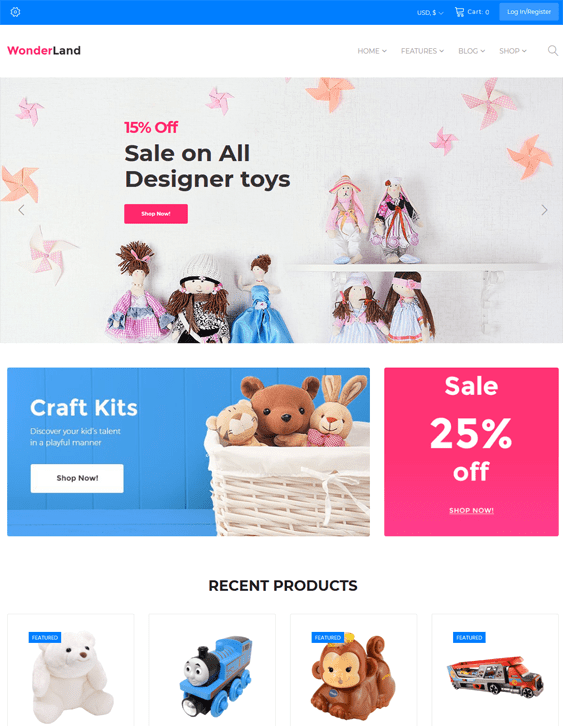 wonderland kids wordpress themes