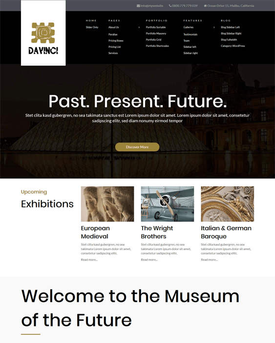 davinci museum wordpress themes