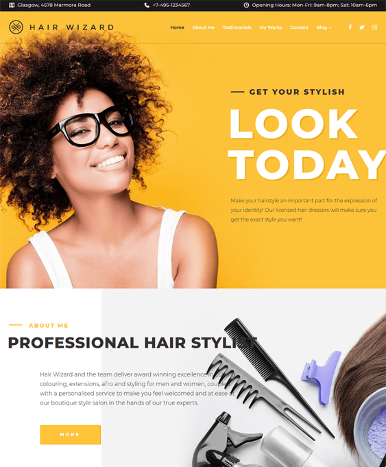 hair salon beauty spa wordpress themes stylist