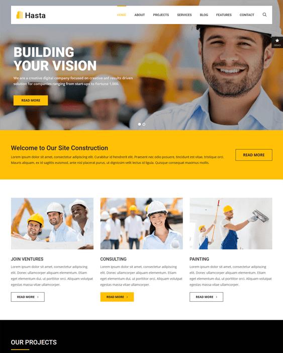 hasta construction wordpress themes