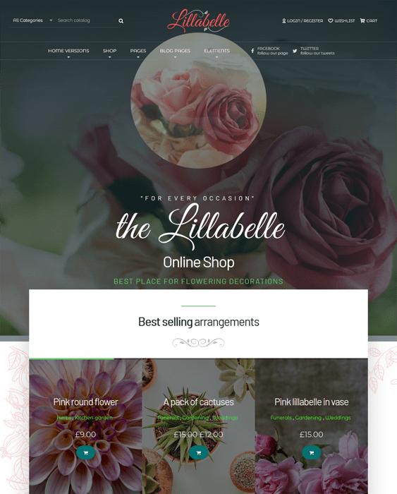 lillabelle florist wordpress themes flower shops