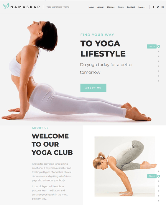namaskar yoga studio wordpress themes