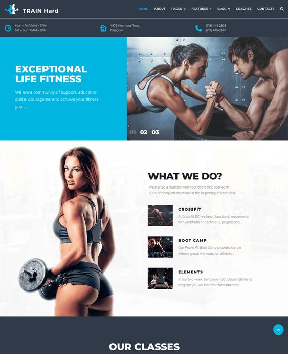 train hard gym fitness wordpress themes