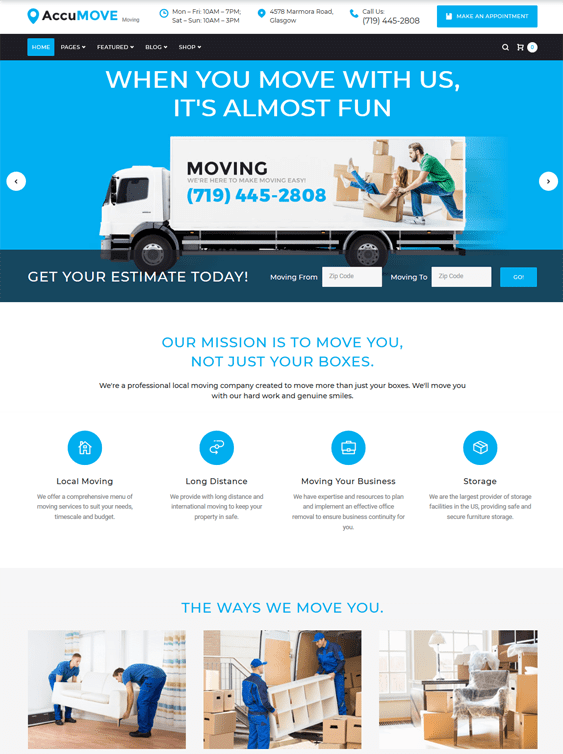 wordpress themes moving company mover