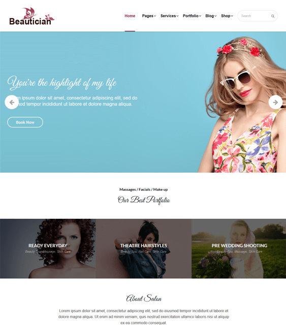 wordpress themes hair salons beauty spas
