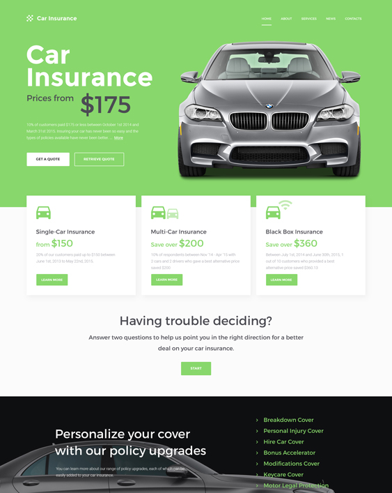 bootstrap website templates insurance companies