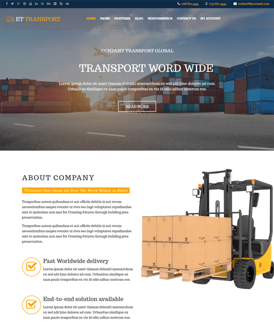 transportation wordpress themes