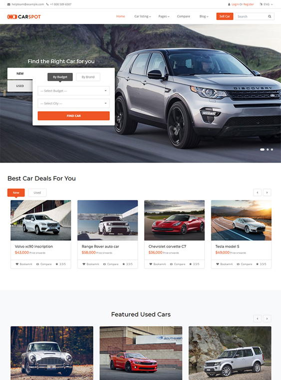 Bootstrap Website Templates Car Dealerships