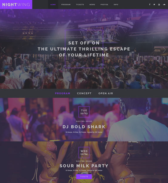 bootstrap website templates night clubs