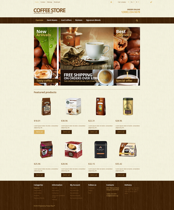 prestashop themes online coffee stores