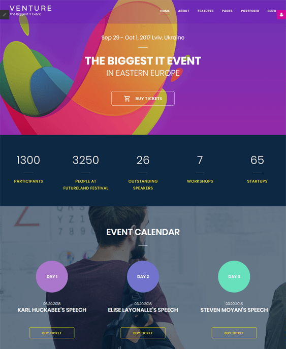joomla templates for events
