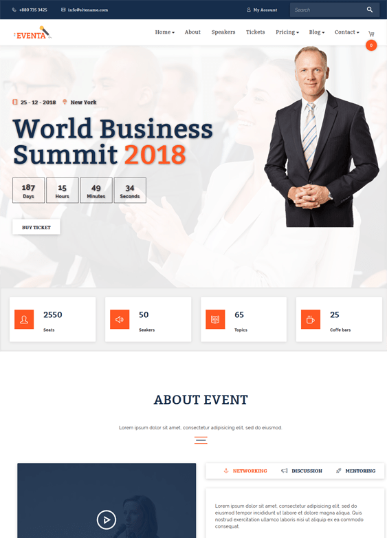 wordpress themes for events