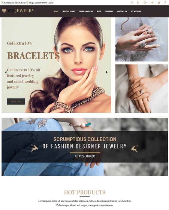 wordpress themes jewelry stores
