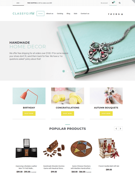 arts crafts shopify themes selling handmade products