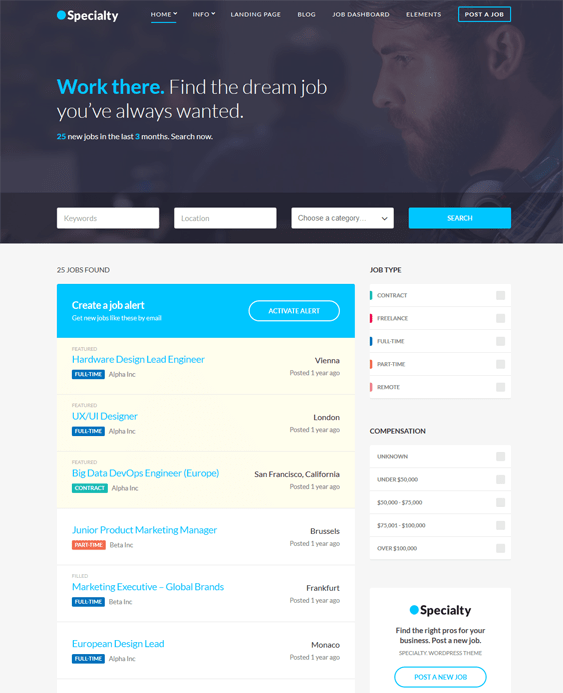 wordpress themes online job boards employment websites