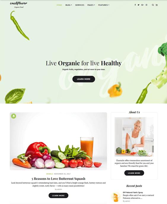 green organic eco-friendly wordpress themes