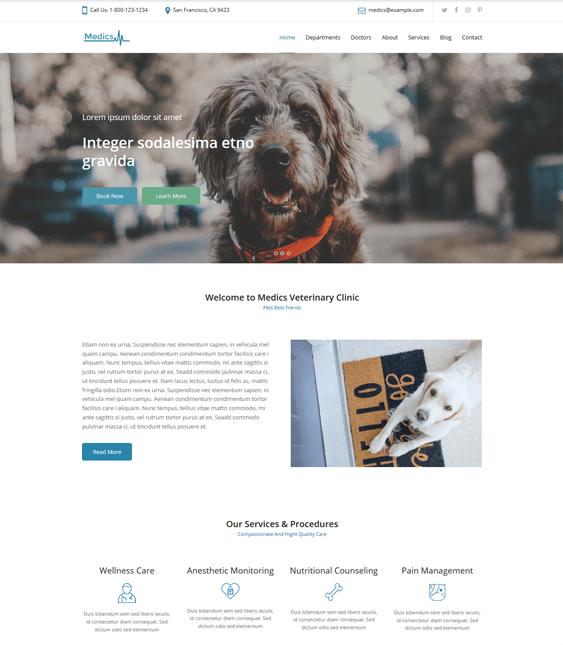 wordpress themes pets vets