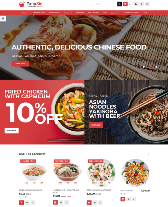 restaurant prestashop themes