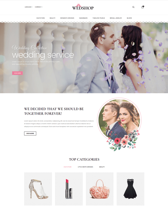 opencart themes wedding bridal stores