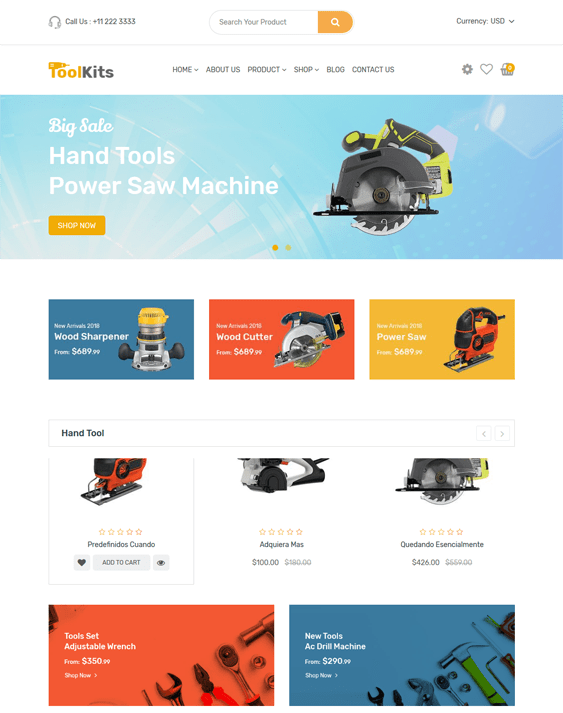 shopify themes for tool hardware and building supply stores