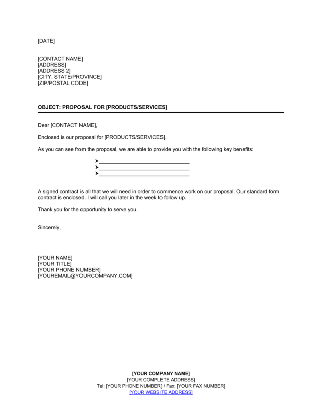 Letter Enclosing Proposal Short Template  by Business-in-a-Box™