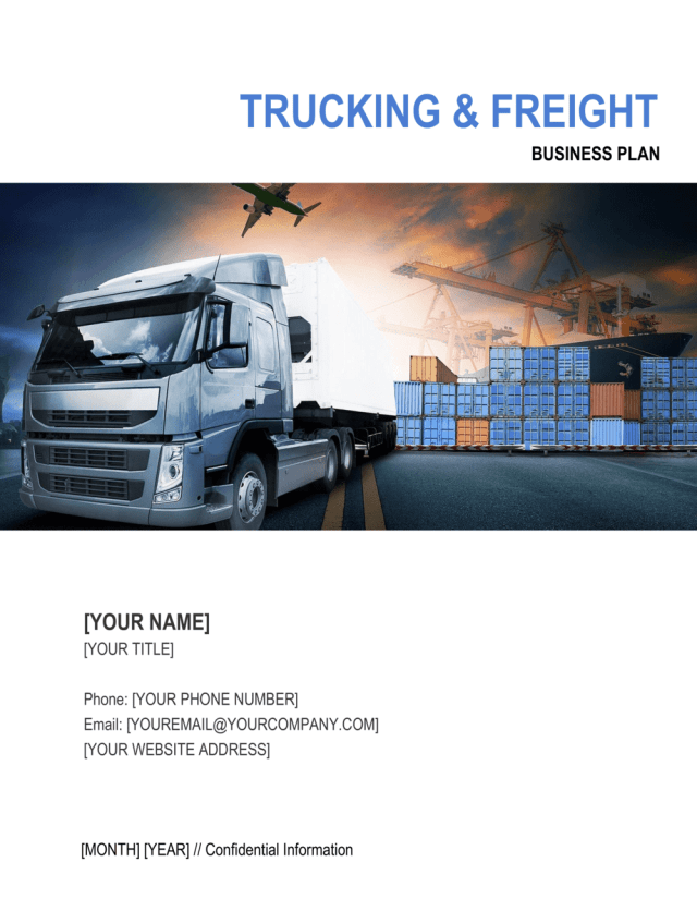 Trucking and Freight Company Business Plan Template  by Business
