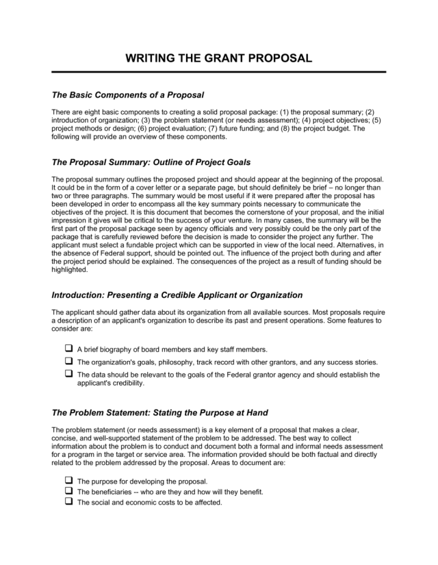 Writing the Grant Proposal Template  by Business-in-a-Box™