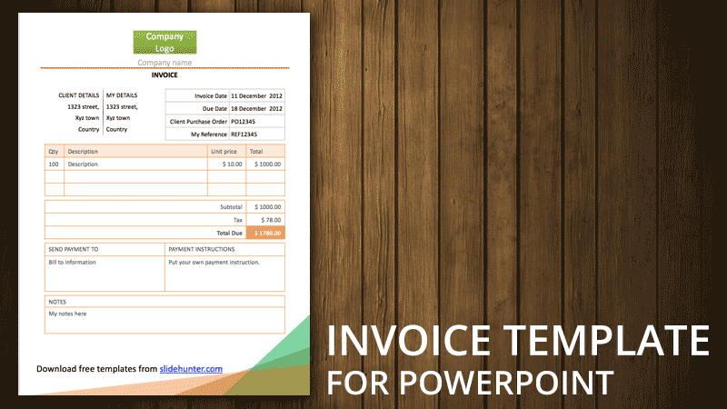 Best Blank Invoice Templates   Templates vip Free Invoice Template for PowerPoint