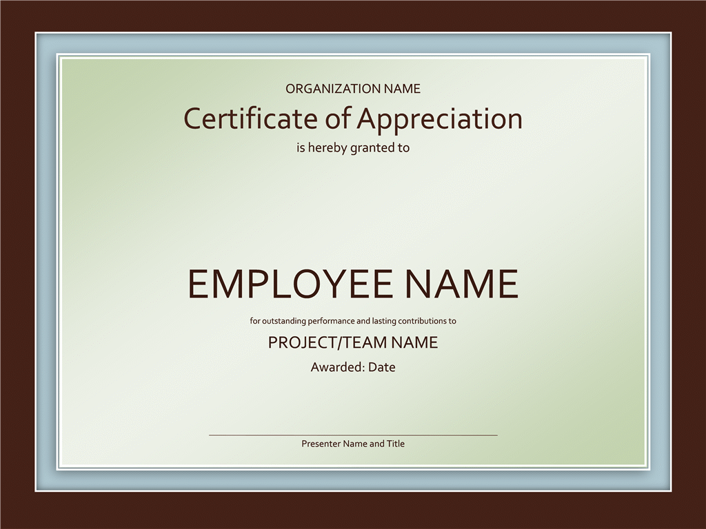 Employee Appreciation Certificate Template appreciation templates – Thank You Certificate Wording