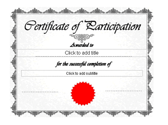 printable certificates of participation awards templates clip art – Certificate of Participation Free Template