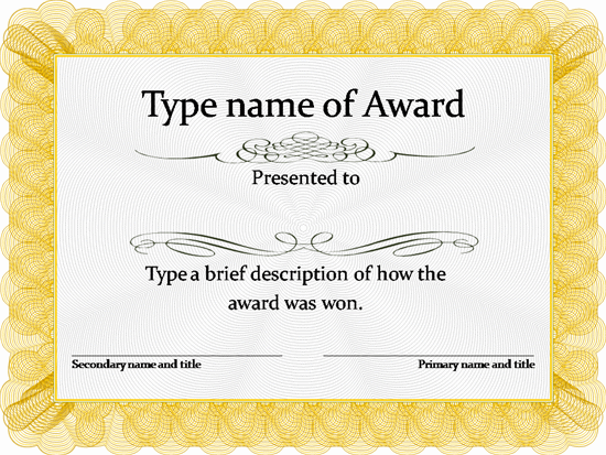 Awards Templates free word award templates for kids – Award Certificate Template for Word