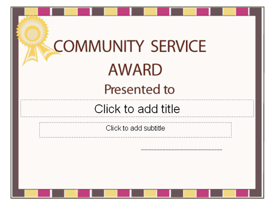 Community Service Template  award certificate  log sheet printable